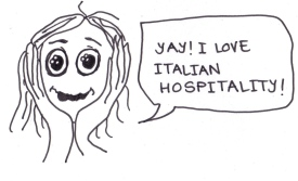 "cartoon of a girl saying, ""Yay! I love Italian hospitality!"""