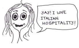 """cartoon of a girl saying, """"Yay! I love Italian hospitality!"""""""