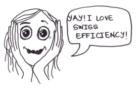 "cartoon of a girl saying, ""Yay! I love Swiss efficiency!"""