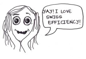 "cartoon of a girl saying, ""Yay! I love Swiss efficiency!"""