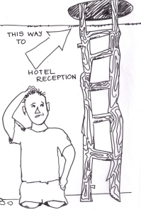 "cartoon of a guy with no legs under a sign that points up a ladder: ""This way to hotel reception.""ed forward to this for so long and now I'm actually doing it!"""