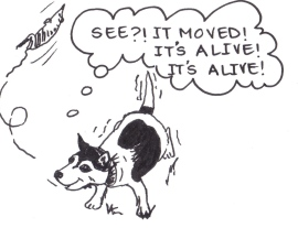 "Drawing of a dog throwing a dead rat in the air and saying, ""See?! It moved! It's alive! It's alive!"""