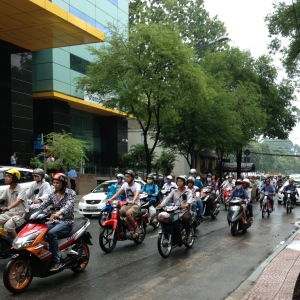 Busy traffic on a Hoi Chi Minh street