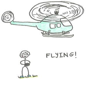 Drawing of a boy holding a remote control and looking up at a helicopter, with the caption: flying!