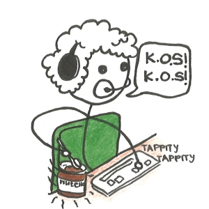 "Cartoon of a boy with headphones and headset on, typing at a keyboard, spooning Nutella out of a jar. He says, ""K.O.S! K.O.S!"""