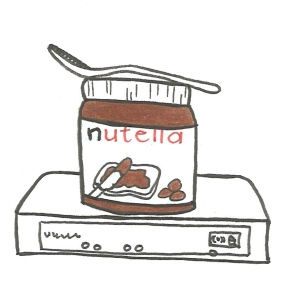 Cartoon of a jar of nutella with a spoon on top, sitting on top of a modem.