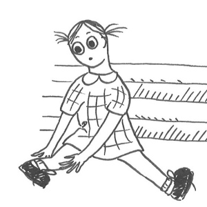 Drawing of a girl in school uniform, holding he bent ankle after falling down some stairs.