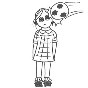 Drawing of a little girl in school uniform getting hit in the head by a soccer ball.