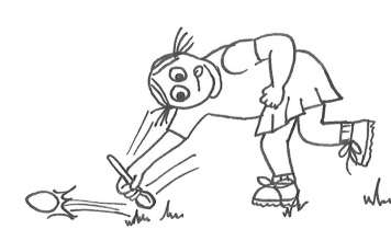Drawing of a little girl in sports uniform bending over to thwack an egg with a spoon as she runs.