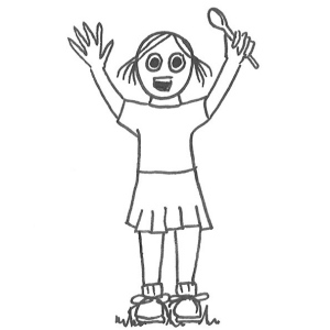 Drawing of a little girl in sports uniform throwing her hands in the air in celebration.