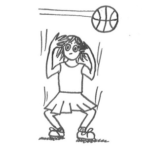 Drawing of a teenager in sports uniform ducking and covering her head as a basketball flies over.