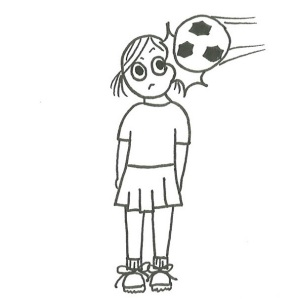 Drawing of a girl in sports uniform being hit in the head by a soccer ball.