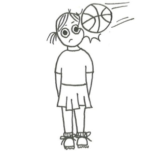 Drawing of a girl in sports uniform being hit in the head by a basketball.