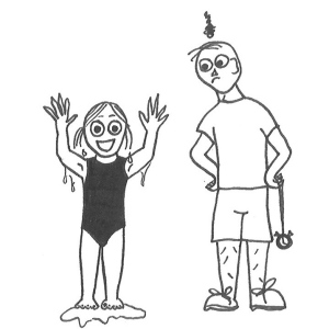 Drawing of a little girl in a swimming costume, standing in a puddle of water, smiling and throwing her hands in the air, while a teacher looks at her, unimpressed.