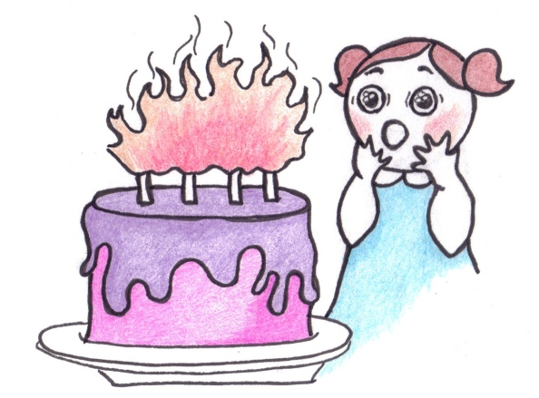 Drawing of a little girl looking delighted at a colourful birthday cake with fiery candles.
