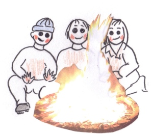 Drawing of three people sitting round a bonfire, smiling as it glows on their faces.