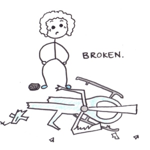 Drawing of a boy holiding a remote control and looking down at a smashed helicopter, with the caption: broken.