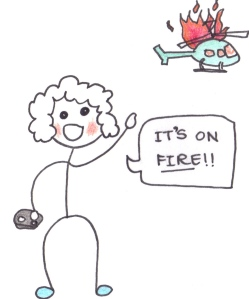"Drawing of a boy holiding a remote control and looking up at a burning helicopter, saying ""It's on fire!!"""