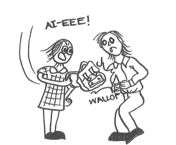 Cartoon of a girl in school uniform hitting a schoolboy in the guts with her canvas rucksack.