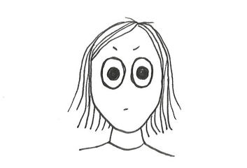 A cartoon of a girl's face looking like she's just had an idea.