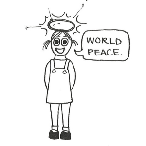 "Cartoon of a little girl with a halo above her head saying, ""World peace."""