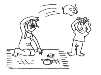 Cartoon of a little girl on a picnic rug hurling a piggy bank at the little curly-haired boy with no pants.