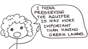 "Cartoon of a curly-haired boy saying, ""I think preserving the aquifer is way more important than having green lawns."""