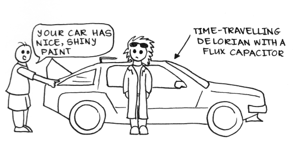 "Cartoon of a man pointing at the time-travelling Delorian from Back to the Future, saying ""Your car has nice, shiny paint."""