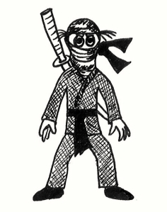 Cartoon of a girl ninja in fighting stance.