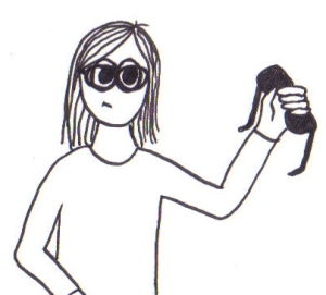 Cartoon of a girl with glasses on, holding 3D glasses in her hand.