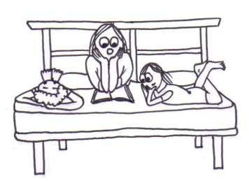 Cartoon of a woman and two children lying on a bed reading together.