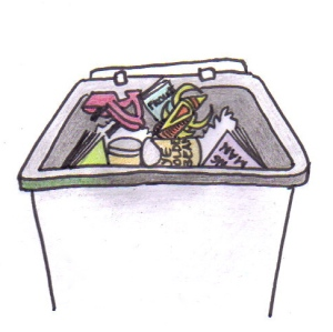 Cartoon of a garbage bin with high heels, books and cans inside.