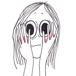 Cartoon of a girl covering her blushing red cheeks.