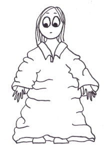 Cartoon of a girl in a t-shirt so big it comes down to her feet.