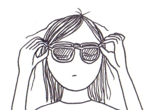 Cartoon of a girl neatly placing 3D glasses over her specs.