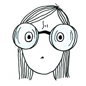 Cartoon of a girl whose eyes look tiny behind her very thick glasses.