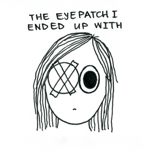 Cartoon of a girl with a big circular eyepatch taped to her face.
