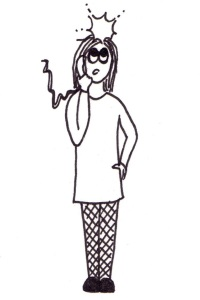 Cartoon of a girl on the phone with a tingling sensation in her head.