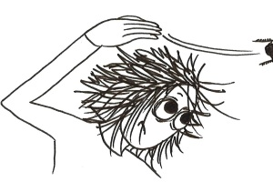 Cartoon of a girl flicking a cockroach of her head.