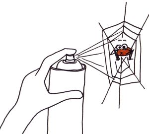 Cartoon of a spider holding its breath as it is sprayed with insect killer.