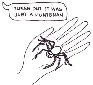 "Cartoon of a girl looking down at a large, hairy spider in her palm and saying, ""Turns out ir was just a hunstman""."
