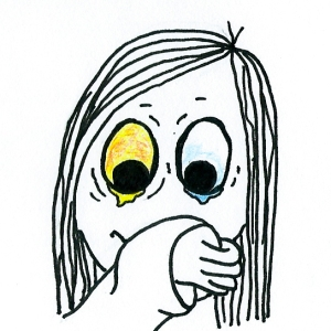 Cartoon of a girl with one two watery eyes blotting her nose on the inside of her sleeve.