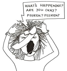 "Cartoon of a girl completely tied up in the phone cord and screaming. The person on the other end of the phone is saying, ""What's happened? Are you okay?"""