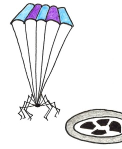Cartoon of a spider with a parachute, landing next to a plughole.