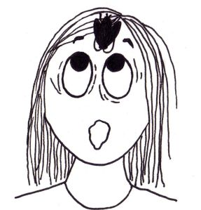Cartoon of a girl looking alarmed with a cockroach in the middle of her forehead.