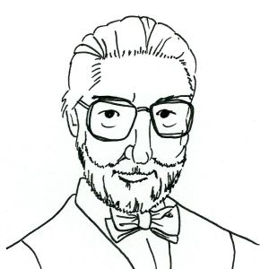 Drawing of Dr Seuss wearing a bow tie.