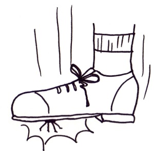Cartoon of a spider being stomped on.