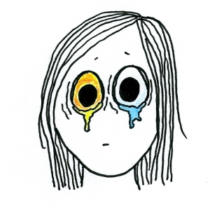 Cartoon of a girl with yellow tears streaming from one eye and ordinary tears streaming from the other.