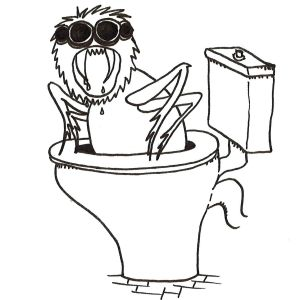 Cartoon of a ferocious spider the size of human climbing out of a toilet bowl.