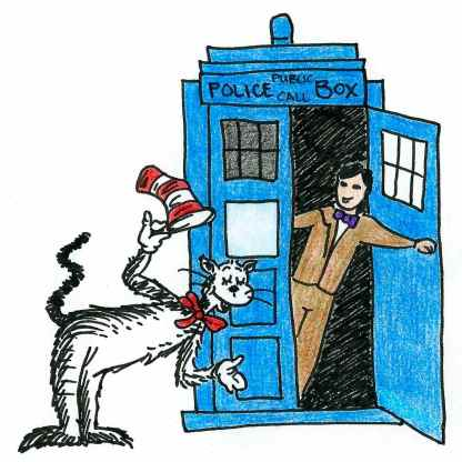 Cartoon of the eleventh Doctor Who throwing open the door of the TARDIS to greet the Cat in the Hat.
